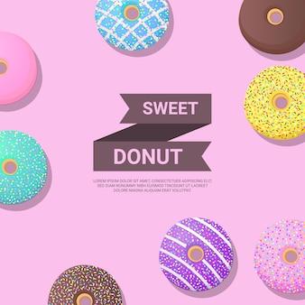 Modelo de design de bandeira de donuts