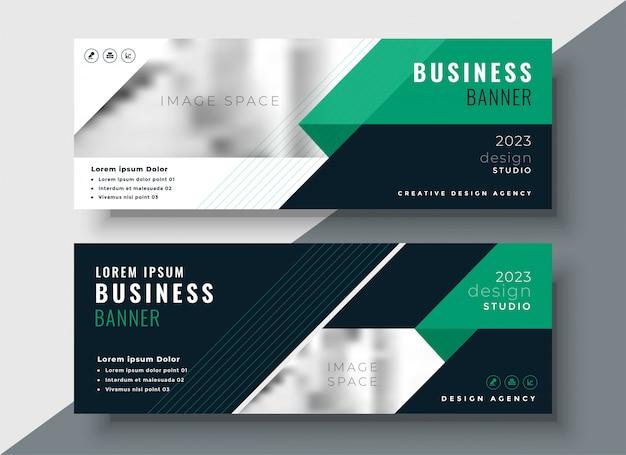 Modelo de design de bandeira de negócio abstrato verde