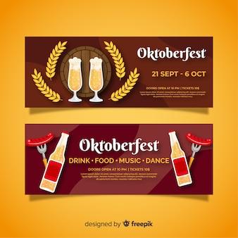 Modelo de design de bandeiras oktoberfest design plano