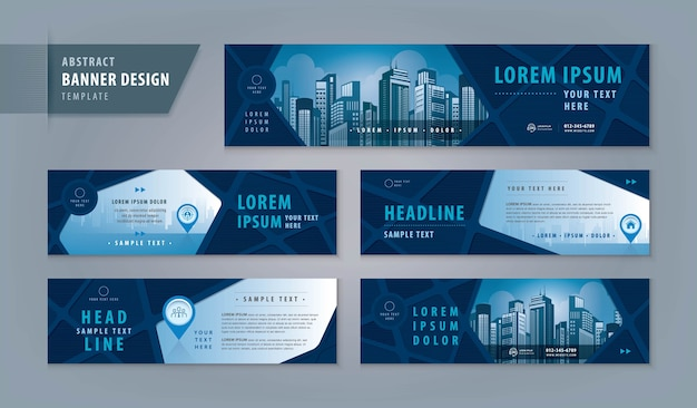 Modelo de design de banner abstrato, banner de cabeçalho horizontal da web. cabeçalho de capa geométrica para site.