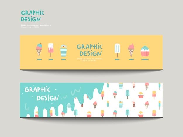 Modelo de design de banner adorável com conjunto de sorvete