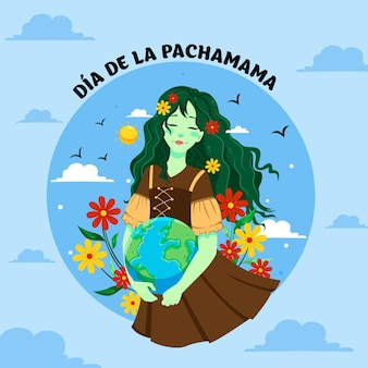 Modelo de design de banner cartoon dia de la pachamama