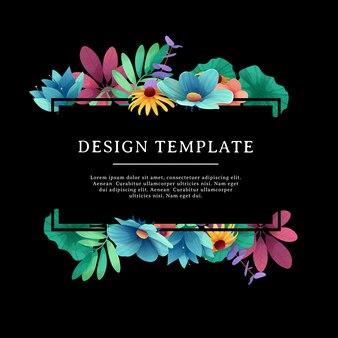Modelo de design de banner com decoração floral. a moldura retangular preta com a decoração de flores, folhas, galhos. convite de luxo com lugar para texto em um fundo preto com buquê de verão.