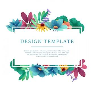 Modelo de design de banner com decoração floral. moldura retangular com decoração de flores, folhas, galhos. convite individual com espaço para texto no buquê de verão natural do fundo. .