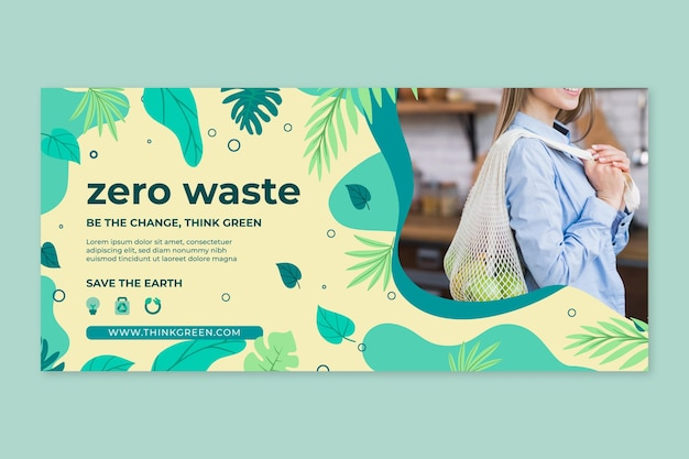 Modelo de design de banner com desperdício zero