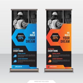 Modelo de design de banner cumulativo de negócios de construção