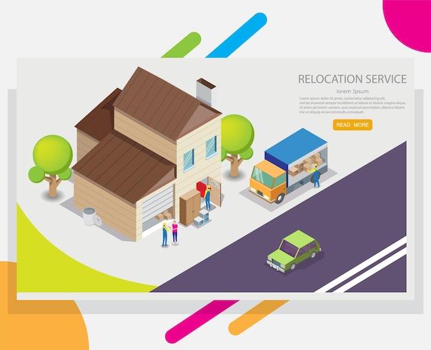Modelo de design de banner da web de serviço de realocação