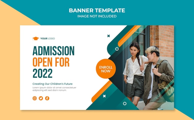 Modelo de design de banner de admissão escolar