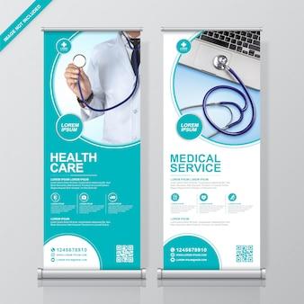 Modelo de design de banner de assistência médica e rollup e assistência médica