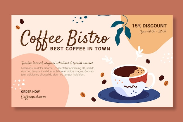 Modelo de design de banner de café