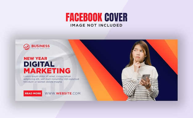 Modelo de design de banner de capa do facebook para negócios digitais de ano novo
