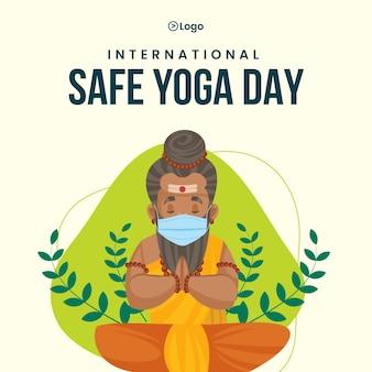Modelo de design de banner de dia de ioga seguro internacional