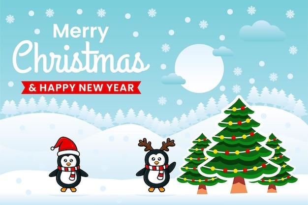 Modelo de design de banner de feliz natal e feliz ano novo com pinguins