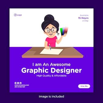 Modelo de design de banner de mídia social com designer gráfico