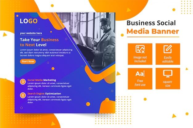 Modelo de design de banner de mídia social de negócios