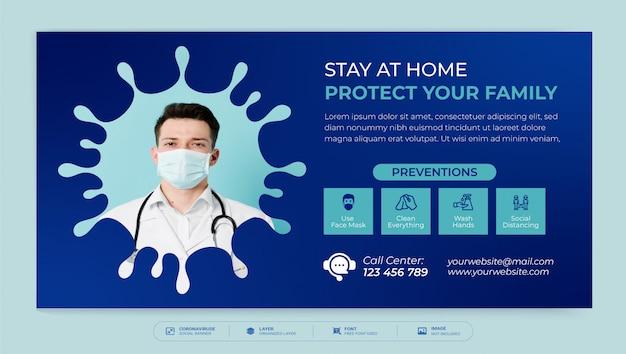 Modelo de design de banner de mídia social de vírus corona