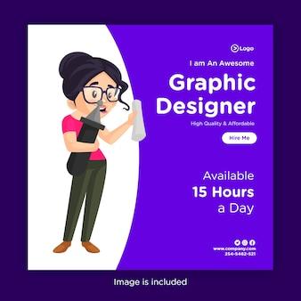 Modelo de design de banner de mídia social do designer gráfico segurando papel e caneta
