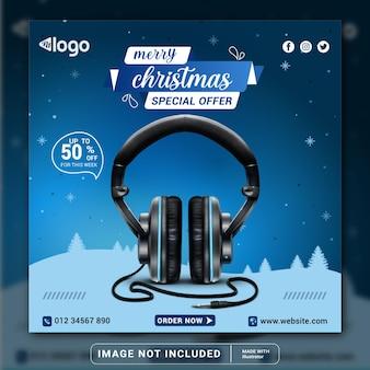 Modelo de design de banner de mídia social ou panfleto quadrado de produto de marca de fone de ouvido feliz natal