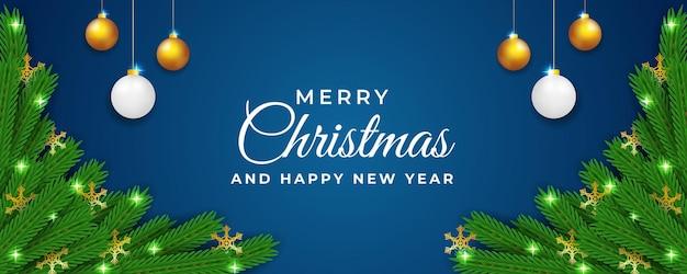 Modelo de design de banner de natal e ano novo com flor e fundo azul