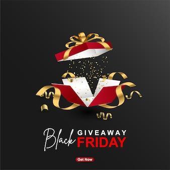 Modelo de design de banner de oferta de sexta-feira negra com caixa de presente realista