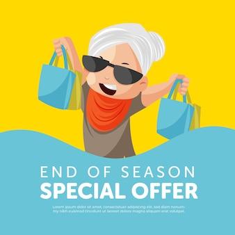 Modelo de design de banner de oferta especial de fim de temporada