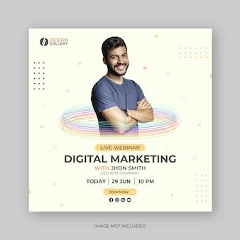 Modelo de design de banner de postagem de webinar de marketing digital ao vivo