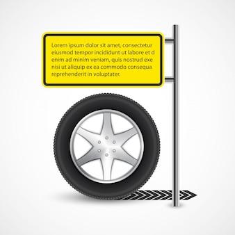 Modelo de design de banner de roda de carro.