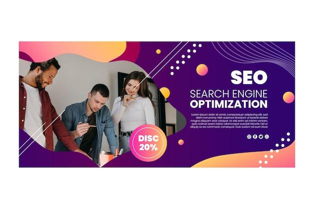Modelo de design de banner de seo com equipe trabalhando