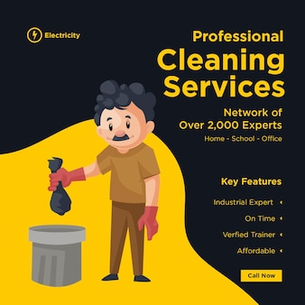 Modelo de design de banner de serviços de limpeza profissional