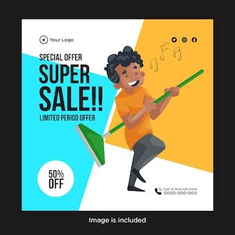 Modelo de design de banner de super venda de oferta especial