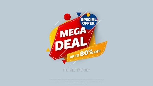 Modelo de design de banner de venda com fundo geométrico, oferta especial de grande venda com até 80% de desconto. super sale, banner com oferta especial de fim de temporada. ilustração vetorial.