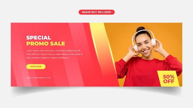 Modelo de design de banner de venda de capa do facebook amarela e vermelha