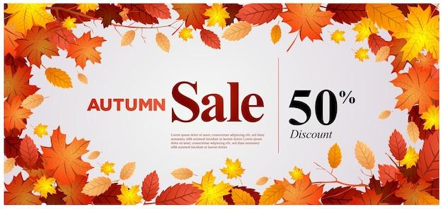Modelo de design de banner de venda de outono em vetor