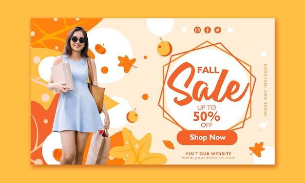 Modelo de design de banner de venda de outono