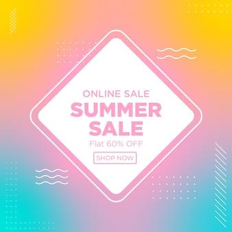 Modelo de design de banner de venda de verão online
