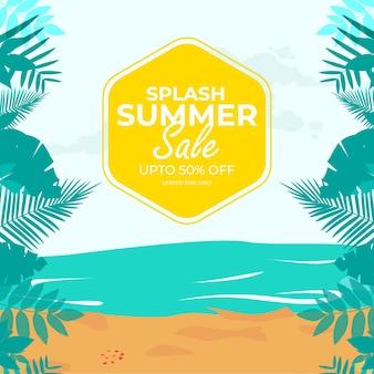 Modelo de design de banner de venda de verão respingo
