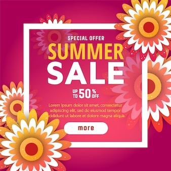 Modelo de design de banner de venda de verão.