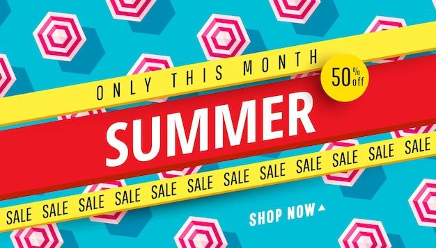 Modelo de design de banner de venda de verão Vetor Premium