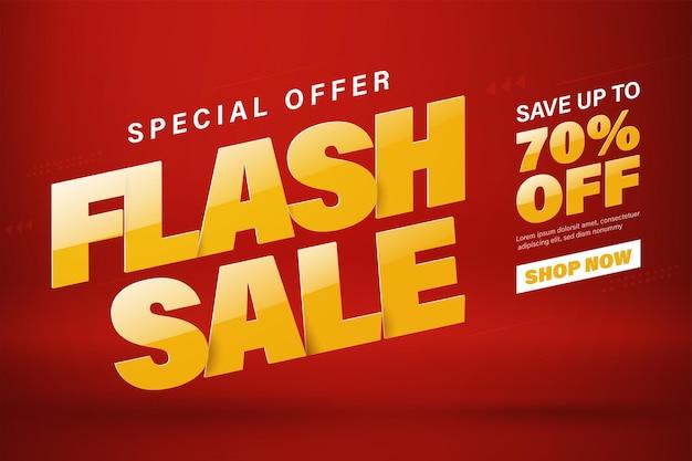 Modelo de design de banner de venda em flash para web ou mídia social. venda com 70% de desconto.