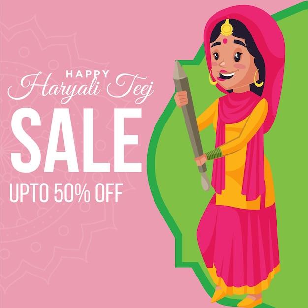 Modelo de design de banner de venda feliz haryali teej