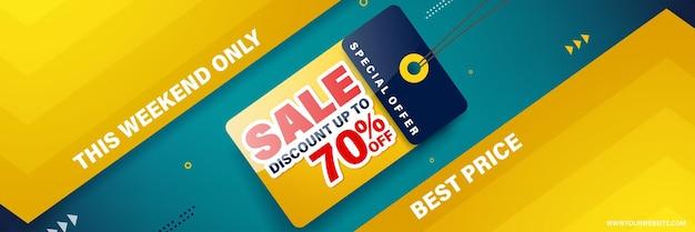 Modelo de design de banner de venda para web ou mídia social, desconto de venda de até 70% de desconto.