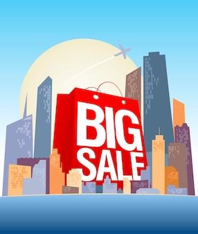 Modelo de design de banner de vetor de grande venda com cidade comercial e saco de papel vermelho