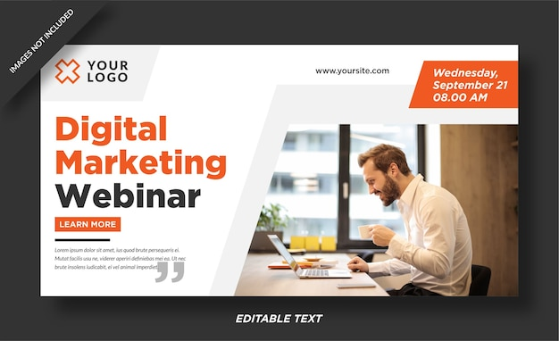 Modelo de design de banner de webinar de marketing digital