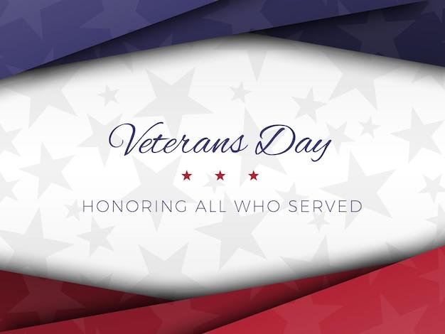 Modelo de design de banner do dia dos veteranos com camadas de corte de papel vetorial realista