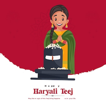 Modelo de design de banner do festival indiano feliz haryali teej