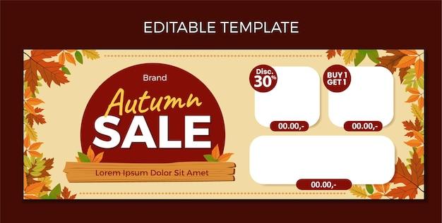Modelo de design de banner e mailer em branco para venda de outono