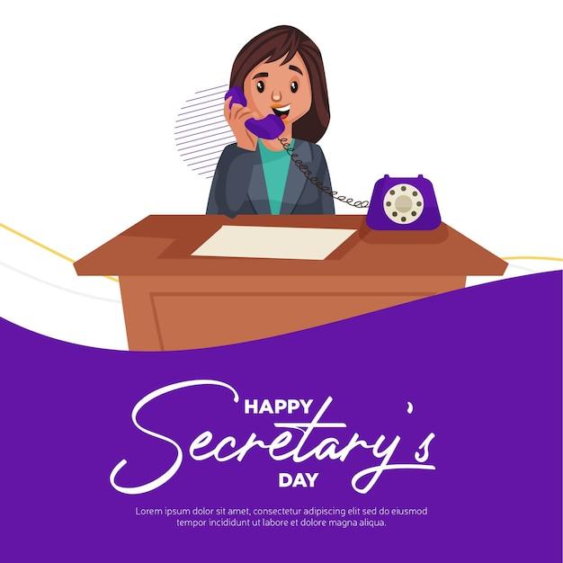 Modelo de design de banner feliz dia da secretária