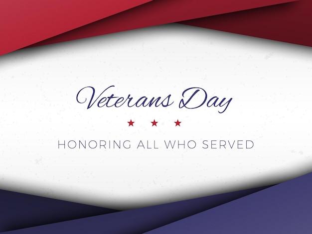 Modelo de design de banner feliz dia dos veteranos com camadas de corte de papel