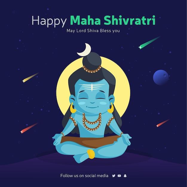 Modelo de design de banner feliz maha shivratri com o senhor shiva fazendo meditação