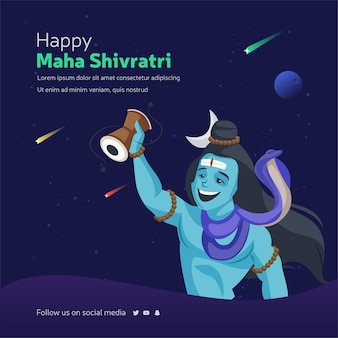 Modelo de design de banner feliz maha shivratri